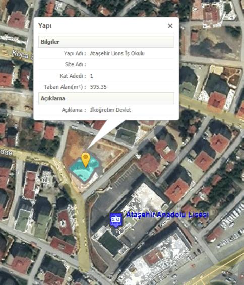 Ataşehir Anadolu Lisesi arsası P.235 2000/11 (7.020m2), Lions İş Okulu arsası ise P.235 2025/3 (2847m2). Ataşehir, Küçükbakkalköy Mahallesi, Uzay Sokak adresinde. Bu sokak için emlak rayiç bedeli 585TL/m2.